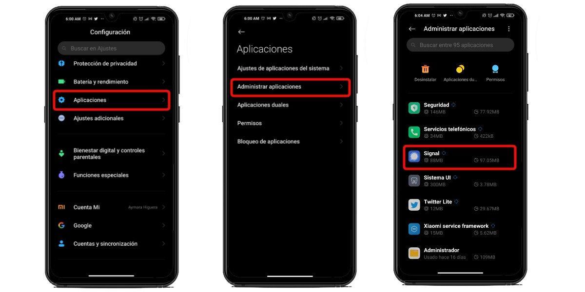 Configura los permisos de Signal en Android