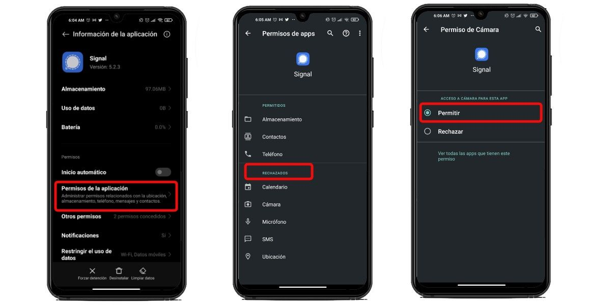 Configura permisos de Signal en Android
