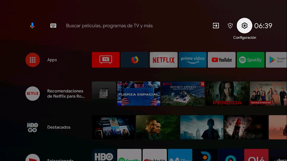 Configuracion Android TV