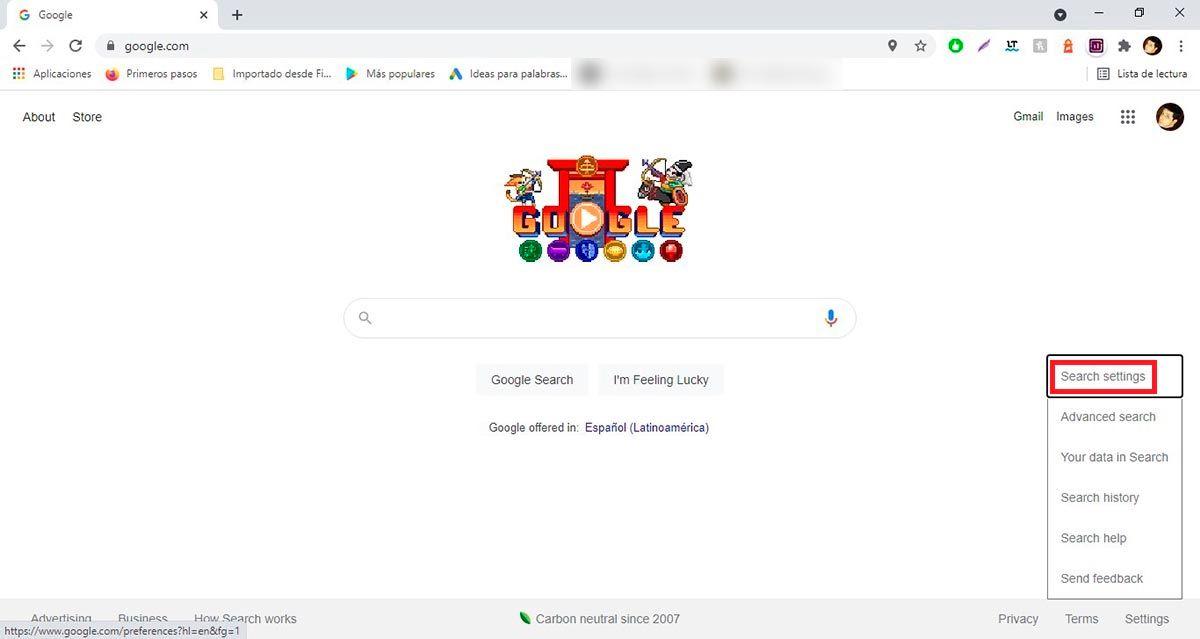 Configuracion Google buscador