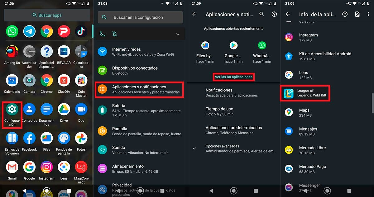 Configuracion League of Legends Wild Rift Android