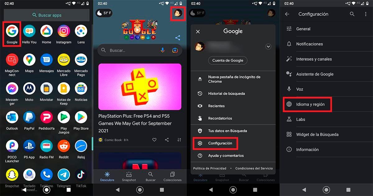 Configuracion app Google Android