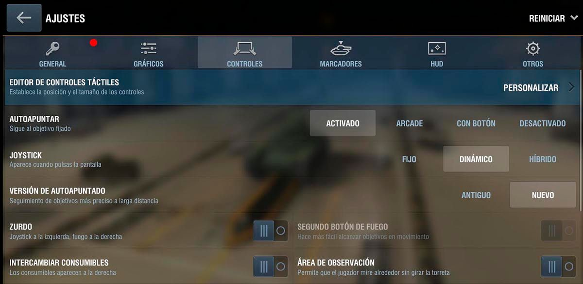 Configuracion controles World of Tanks Blitz