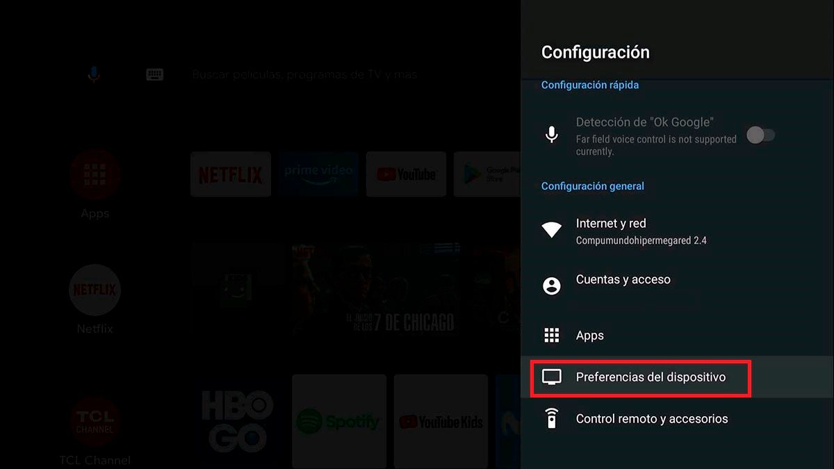 Configuracion de dispositivo Android™ TV