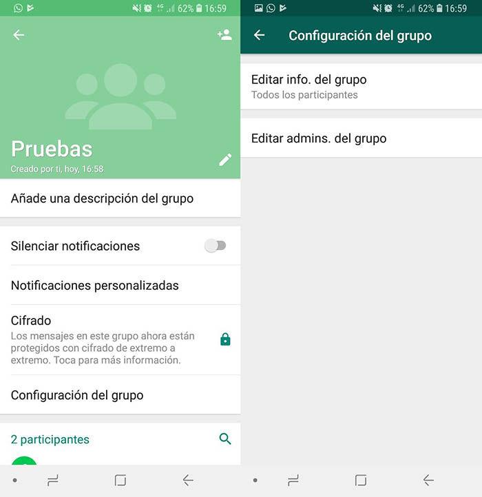 Configuración grupo WhatsApp