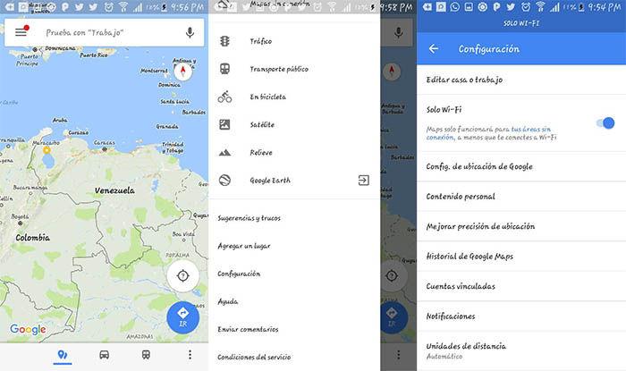 Configuracion solo WiFi de Google Maps
