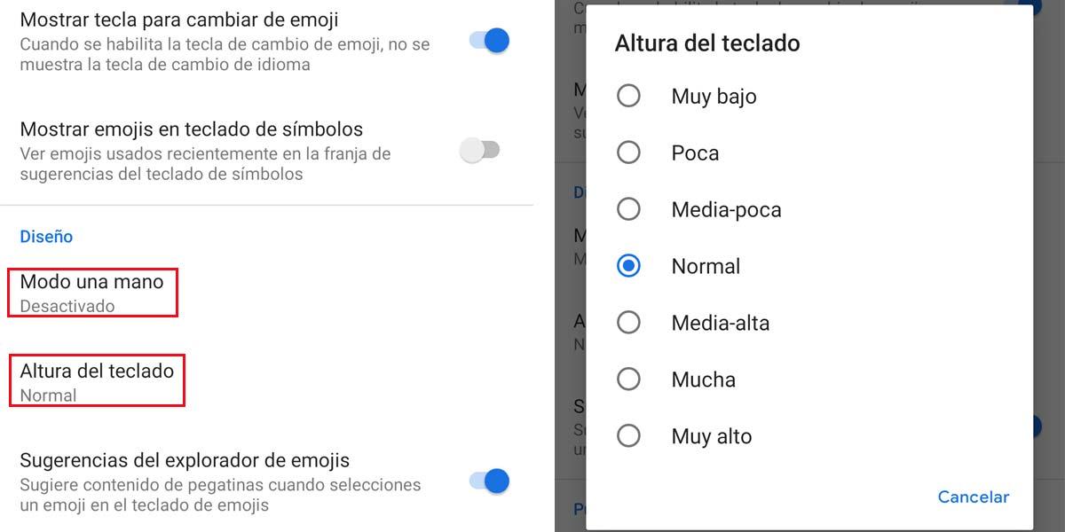 Cambiar ajustes del teclado de Google