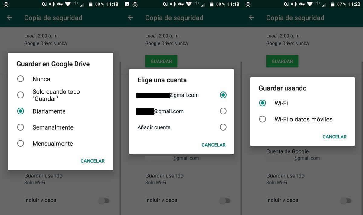 Configurando copia de seguridad automatica whatsapp