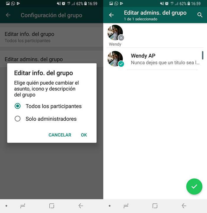Configurar Administradores grupo WhatsApp