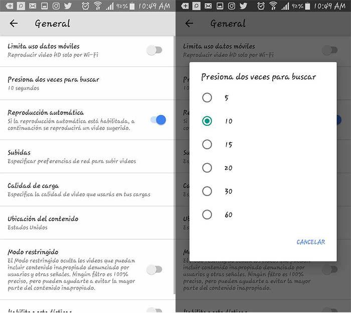 Configurar el double tap de Youtube