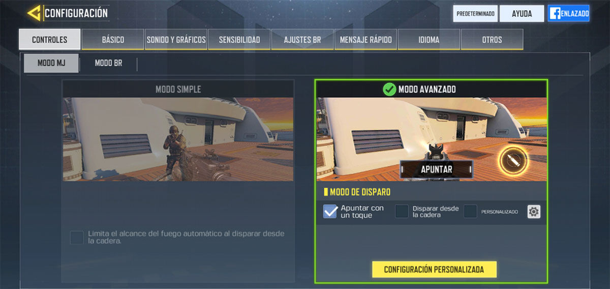 Configurar el mando Call of Duty Mobile