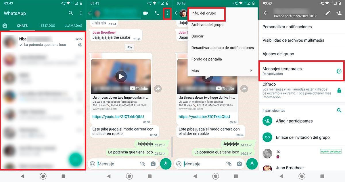 Configurar mensajes temporales WhatsApp