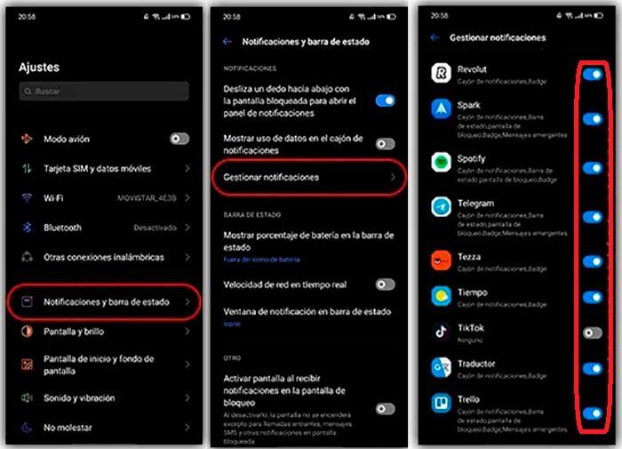 Configurar notificaciones Realme