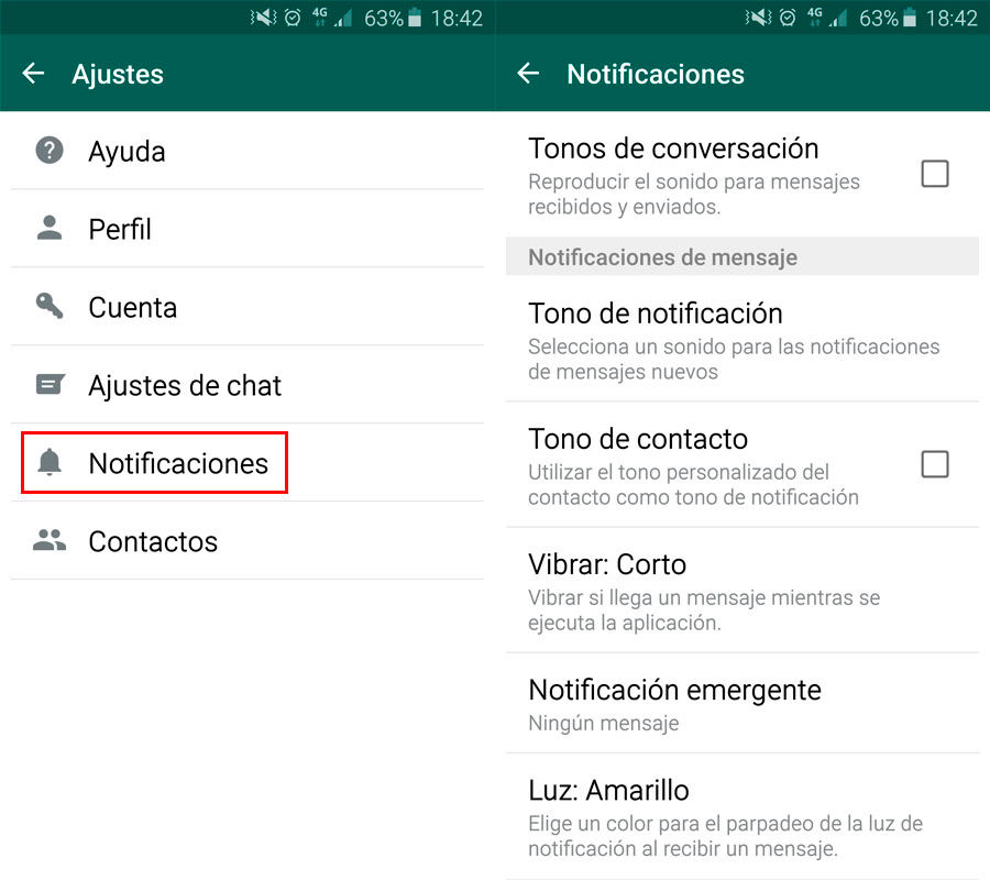 Desactivar las notificaciones de WhatsApp