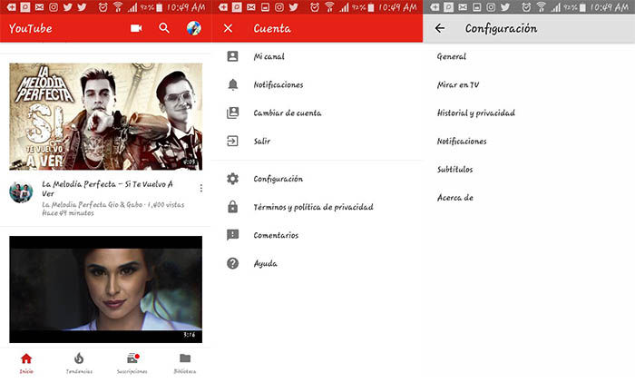 Configuraciones de Youtube