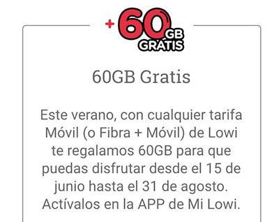 Conseguir 60 GB gratis Lowi