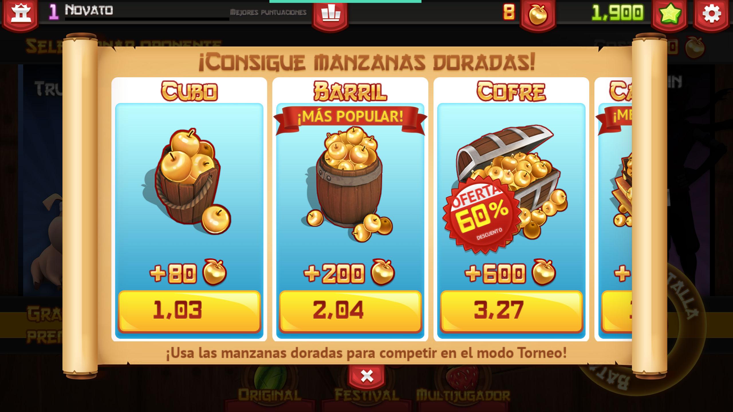 Conseguir manzanas doradas en Fruit Ninja comprando