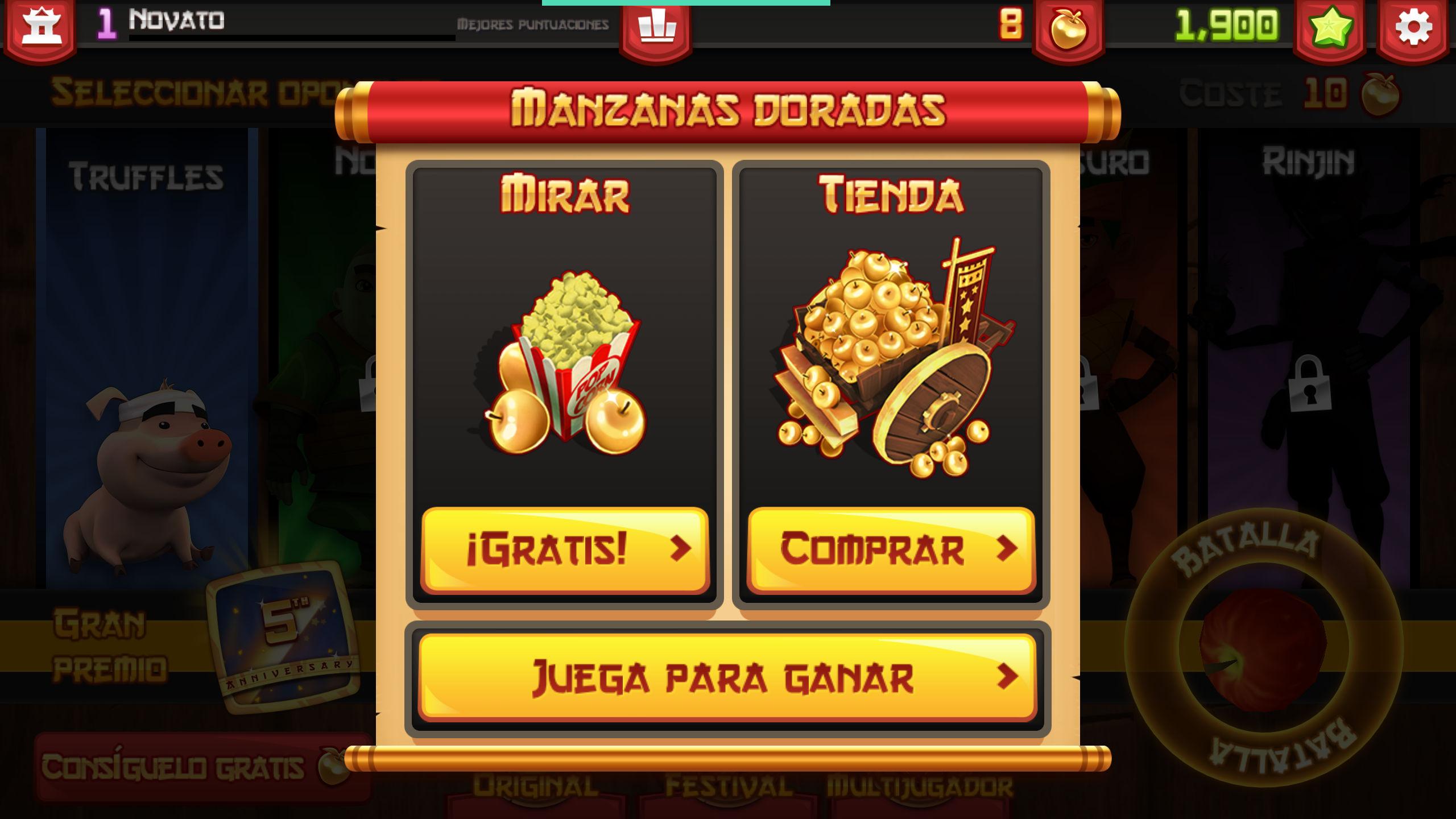 Conseguir manzanas doradas en Fruit Ninja gratis