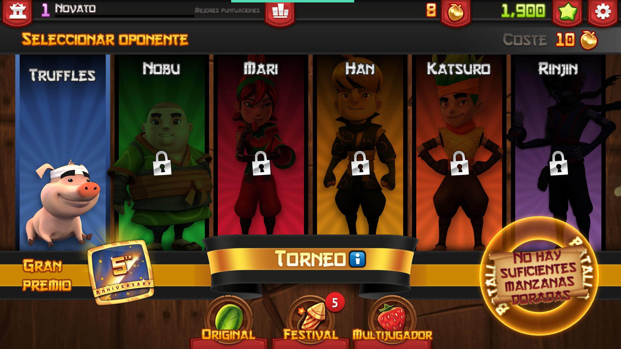 Conseguir manzanas doradas en Fruit Ninja no hay monedas