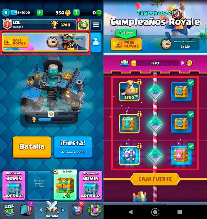 Conseguir objetos magicos pase de batalla Clash Royale
