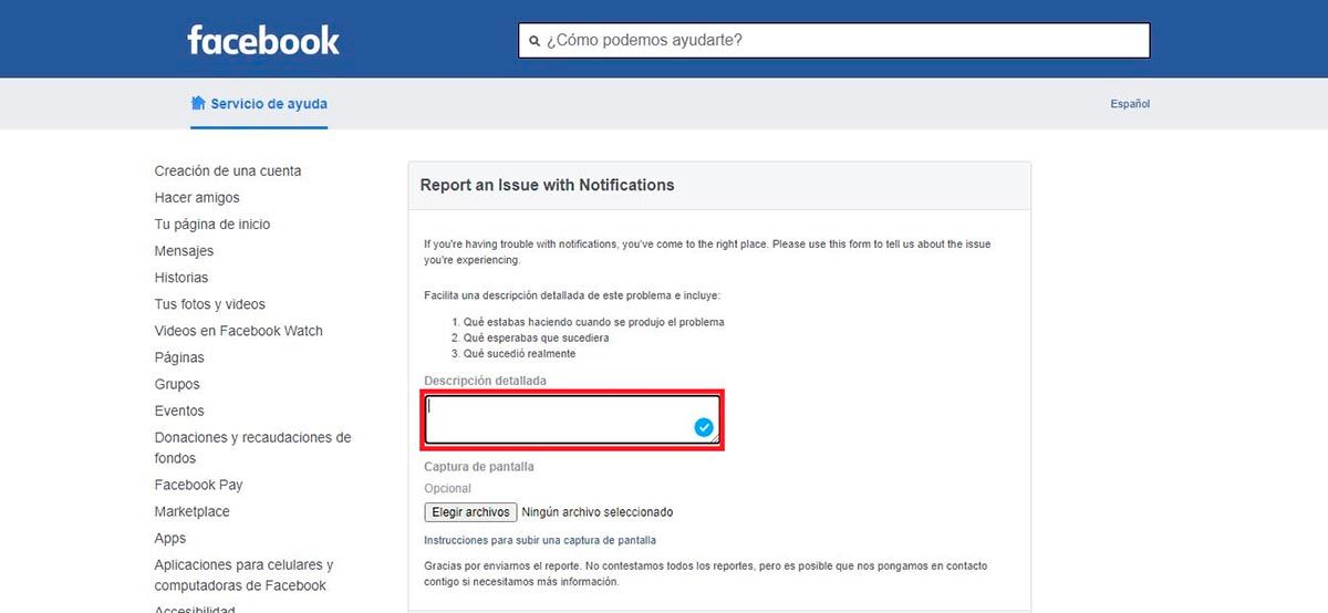 Contactar Facebook por problemas con las notificaciones