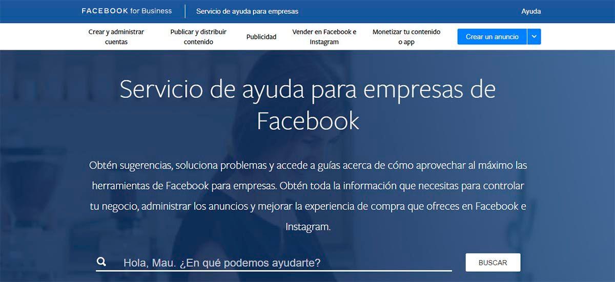 Contactar con Facebook Business