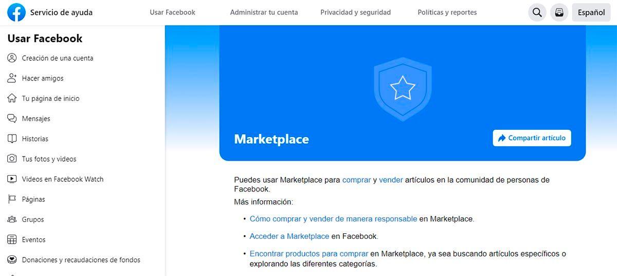Contactar con Facebook Marketplace