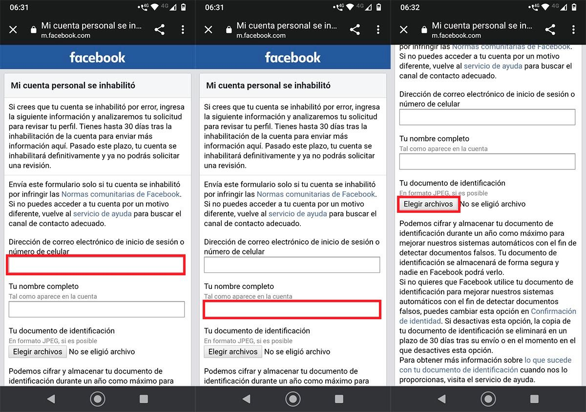 Contactar con Facebook cuenta bloqueada