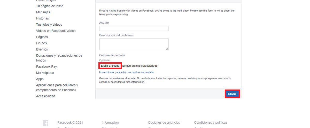 Contactar con Facebook por problemas con videos