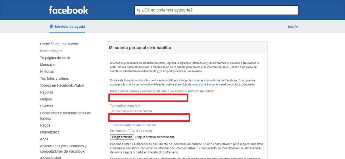 Contactar con Facebook por una cuenta bloqueada