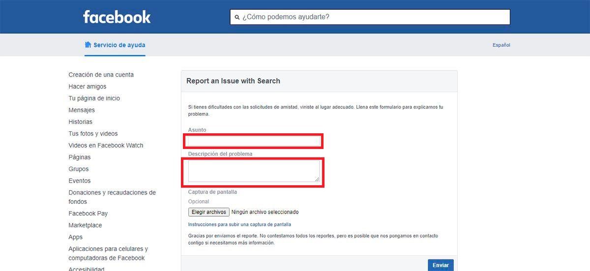 Contactar con Facebook problemas al anadir amigos
