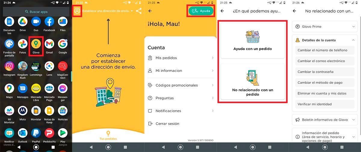 Contactar con soporte Glovo app