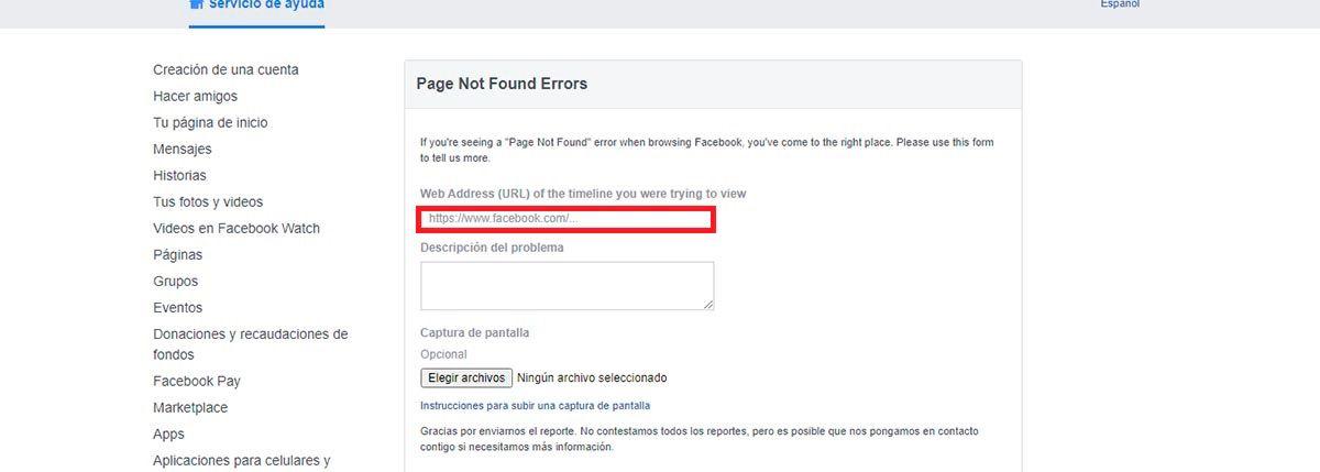 Contacto Facebook problema con pagina