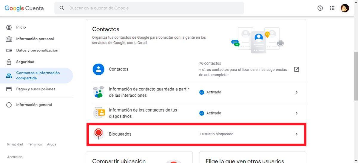 Contactos bloqueados Google Drive