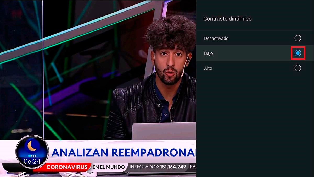 Contraste dinamico bajo Android TV TCL