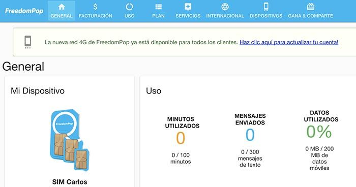 Contratar 4G Freedompop