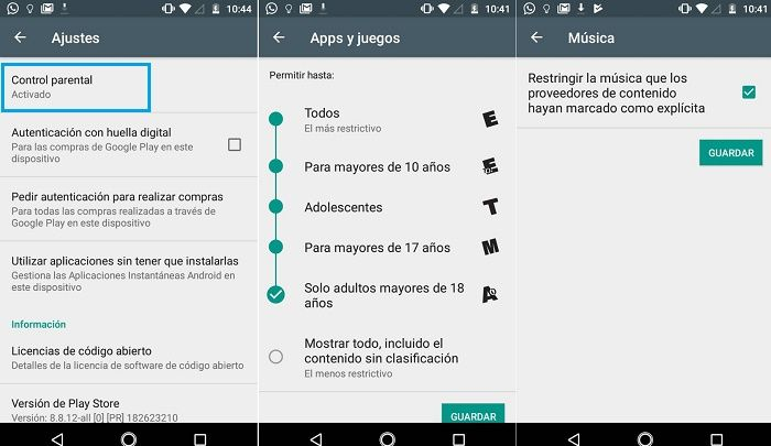 Control parental Google Play Store activar
