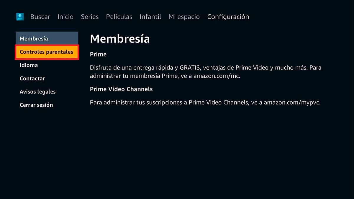 Control parental Prime Video Android TV