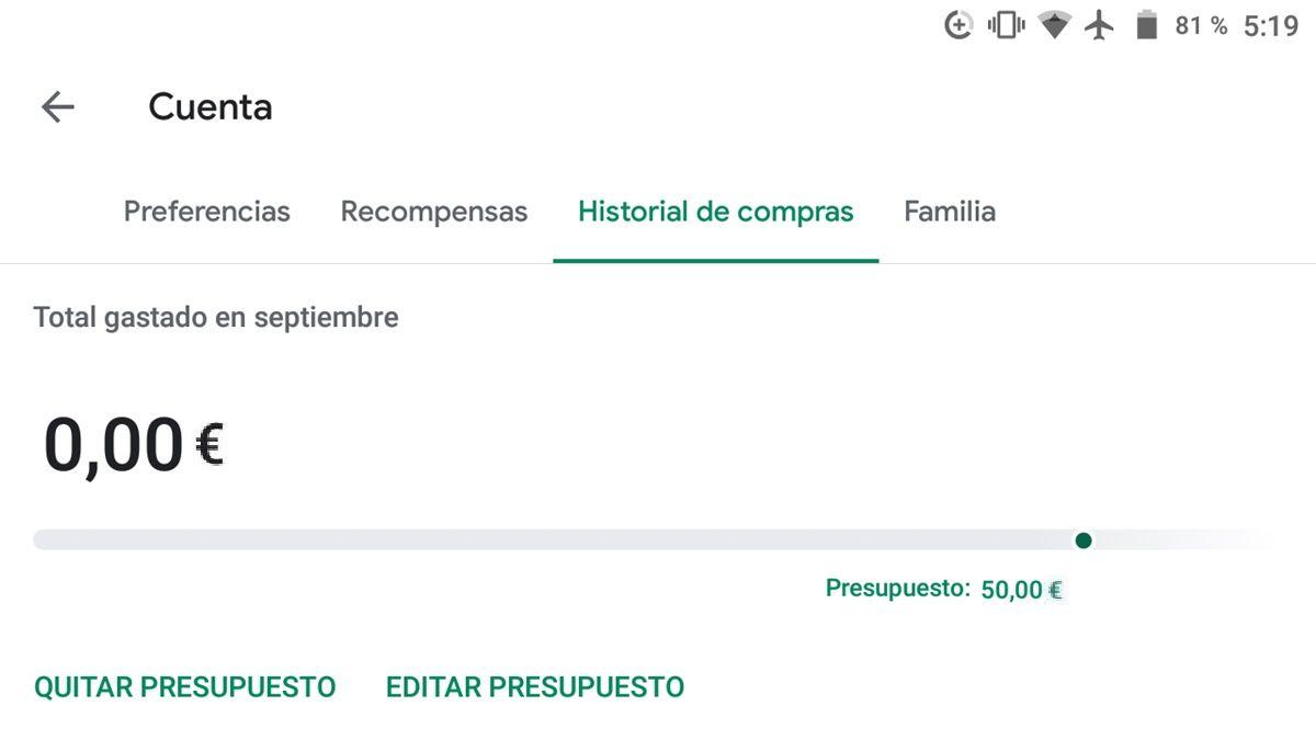 Controlar gastos Google Play Store