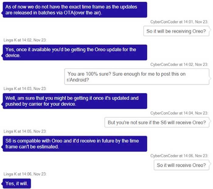 Conversaciones filtran Android O Galaxy S6