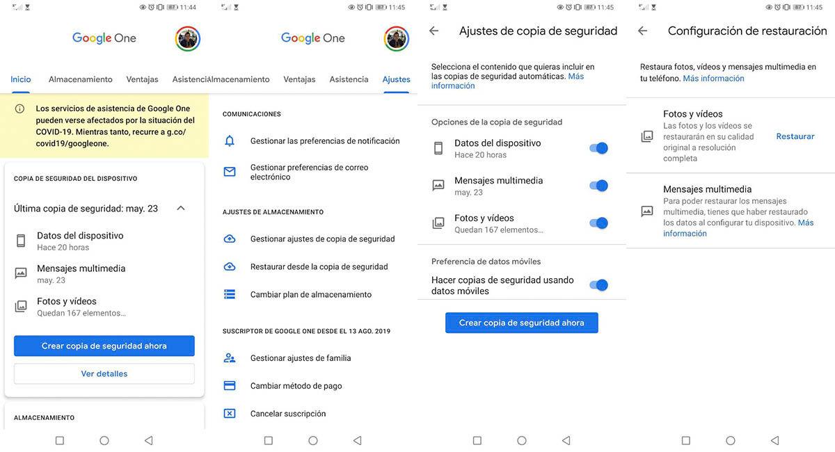 Copia de seguridad Google One Android