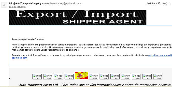 Correo falso transporte Auto Transport LTD
