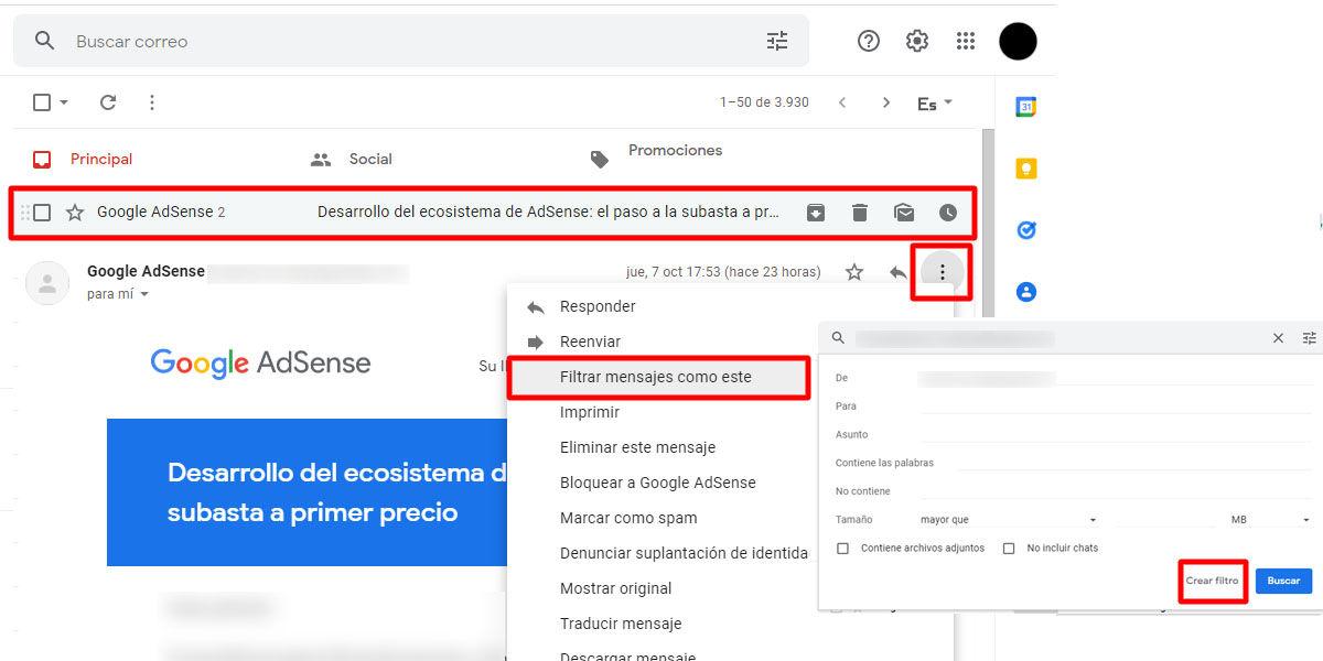 Crea filtros de Gmail en tu bandeja de entrada de emails a partir d un mensaje que ya tengas