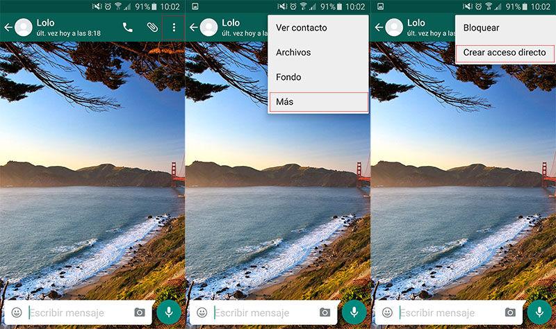 Crear acceso directo a un contacto en WhatsApp