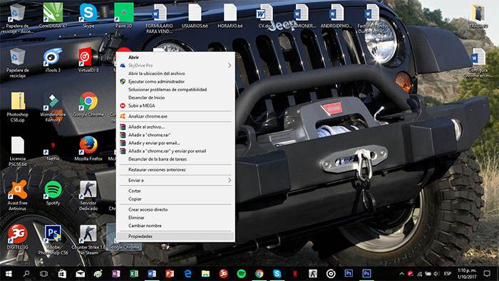 Crear acceso directo en modo incognito de Chrome