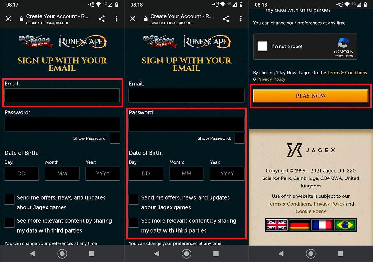 Crear cuenta RuneScape Android