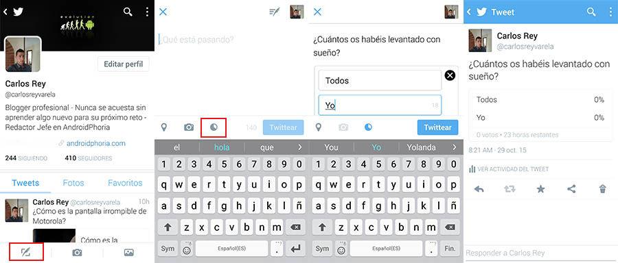 Crear encuentas Twitter en Android