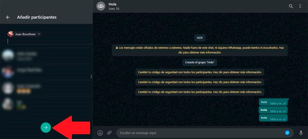 Crear grupo desde WhatsApp Web