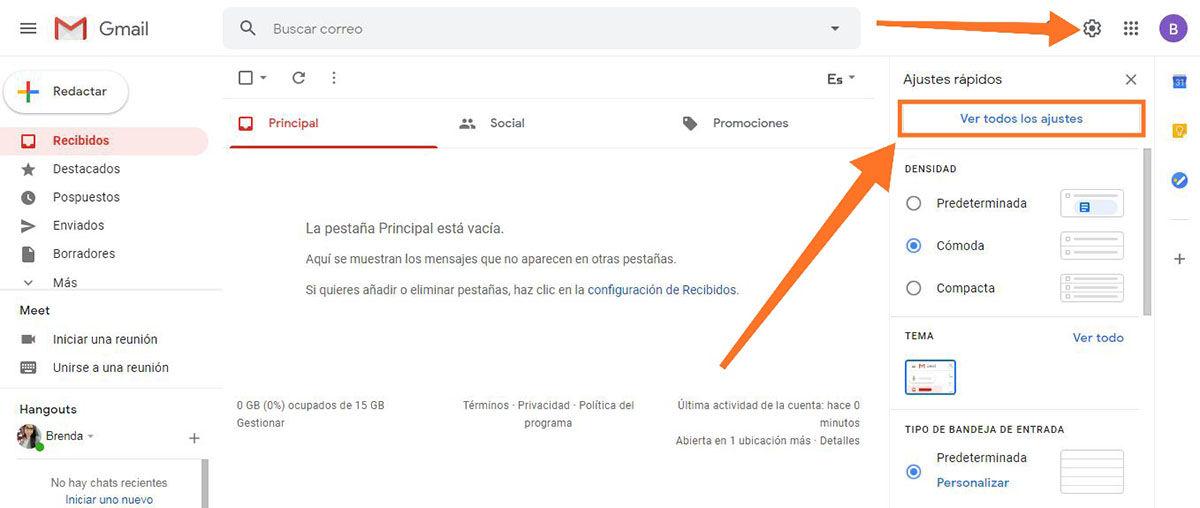 Crear la firma en Gmail paso 1