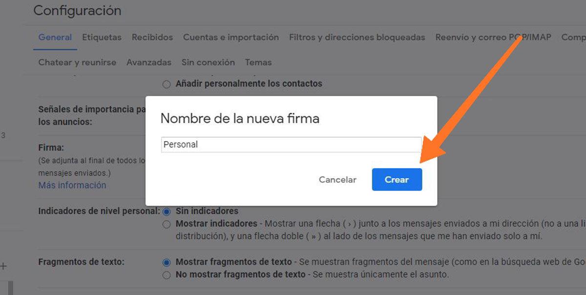 Crear la firma en Gmail paso 3